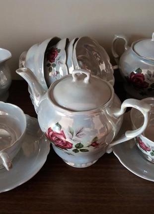 Чайний сервіз на 6 персон, перламутр, ніжний малюнок