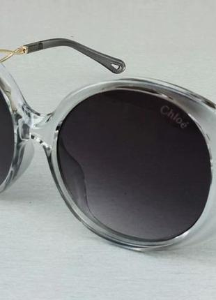 Chloe очки женские солнцезащитные круглые в серой прозрачной оправе