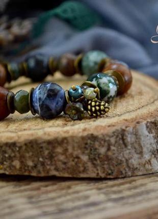 Браслет ′лес перед грозой′, браслет из натуральных камней, браслет в стиле бохо