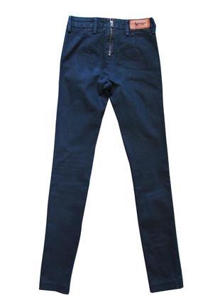 Черные шикарные джинсы скини с молнией сзади acne skin rocca класса люкс
