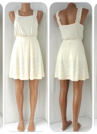 Красивая нежная кремовая гипюровая юбка h&m. размер s/m.