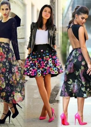 Яркая зеленая юбка в цветы true fomance by sela, вискоза 100%