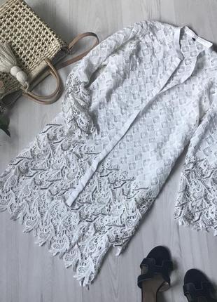 Белый нарядный кардиган накидка размер l