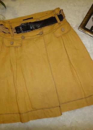 Яркая желтая льняная юбка behcetti  c ремнем