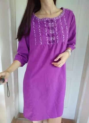 Платье лен с вышивкой