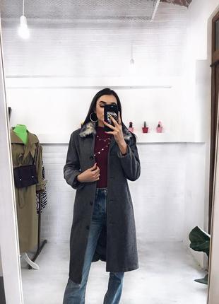 Класне базове сіре пальто на весну серое пальтишко xs