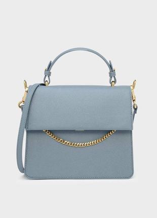 Классическая стальная голубая, серая сумка с цепочкой charles & keith