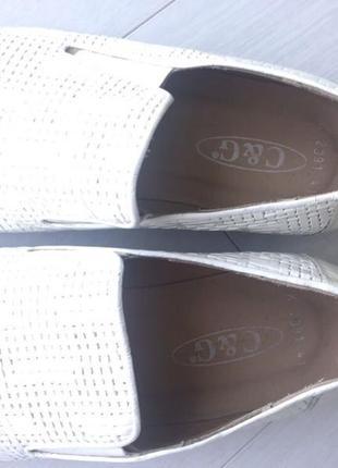 Белые мужские туфли c&g натуральная кожа