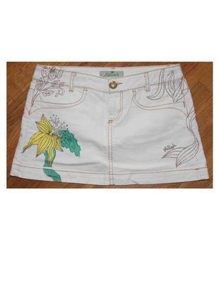 Бомбезная юбка мини белая в цветах и птичках с вышивкой killah, италия 36