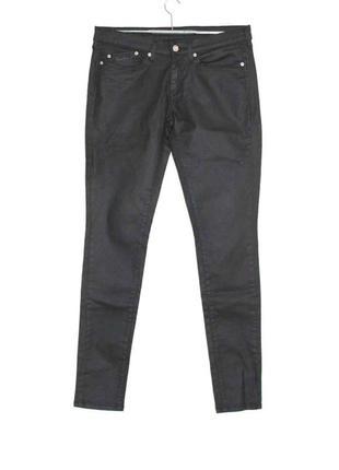 Крутые джинсы скинни чёрные эффект кожа,стрейч pepe jeans, london 32/32 р