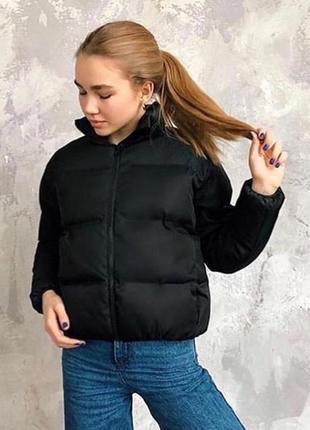 Новая куртка, пуховик зефирка чёрная6 фото