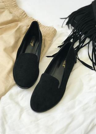 Чёрные балетки, туфли замшевые на низкой подошве