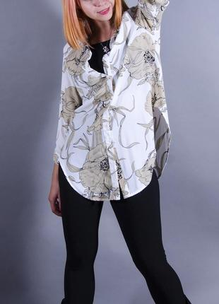 Шифоновая рубашка, длинная рубашка, белая рубашка с принтом,