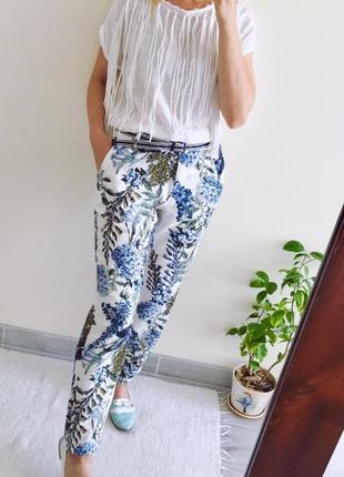Organic льняные белые брюки с цветами next