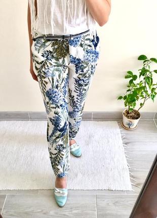 Organic льняные белые брюки с цветами next4 фото