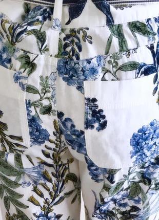 Organic льняные белые брюки с цветами next5 фото