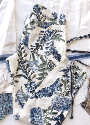 Organic льняные белые брюки с цветами next6 фото