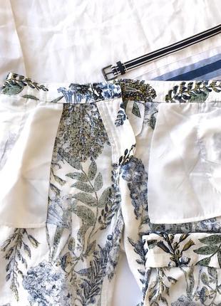 Organic льняные белые брюки с цветами next8 фото