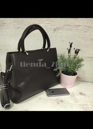 Офисная сумка с длинной ручкой в комплекте f9968-618 коричневая