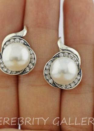 10% скидка - подписчикам! красивые серьги серебряные с жемчугом e 2123 w серебро 925
