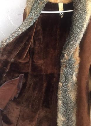 Чёрная пятница!!!! срочно!!! шуба-дублёнка. в подарок меховая шапочка и ремень.2 фото
