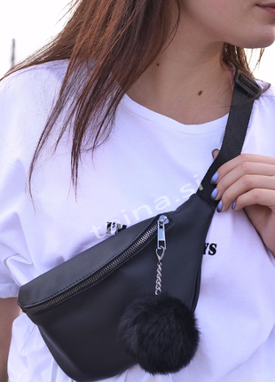6 цветов сумка на пояс черная с пушком бананка люкс качество