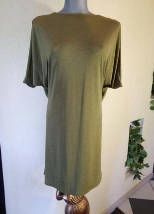Цена временно снижена!оливковое(хаки)платье с красивой,спадающей спинкой,батал