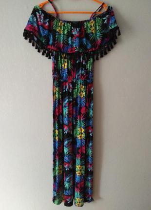 Сарафан платье в пол макси тропики размер с-м