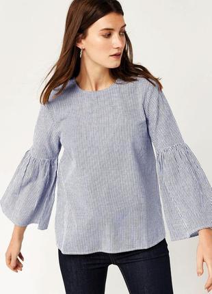 Warehouse полосатая блуза с расклешенными рукавами