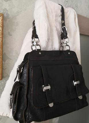 Шикарная большая кожаная сумка issie b, london2 фото