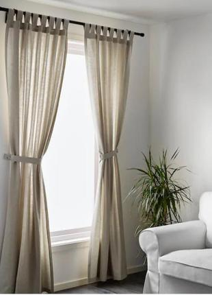 Шикарные затемняющие  шторы ikea lenda beige 100% коттон , как лен