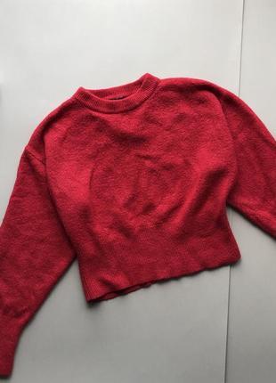 Тёплый укороченый красный свитер new look