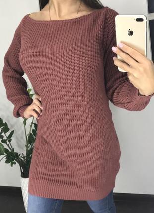Длинный розовый свитер boohoo / длинный розовый свитер