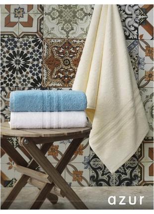 Махровые полотенца, качество! - azur 100х50 голубое плотные