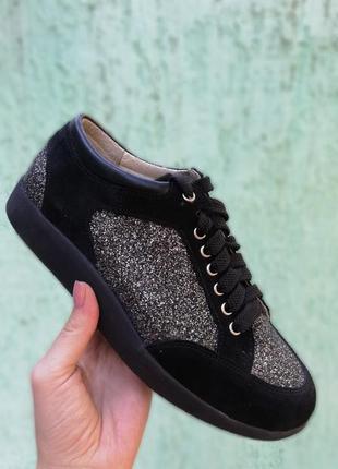 Стильные кожаные замшевые кеды кроссовки черные с блестящими вставками натуральная кожа