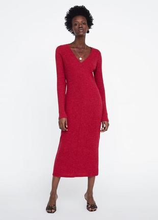 Zara платье трикотажное в рубчик , s/m/l