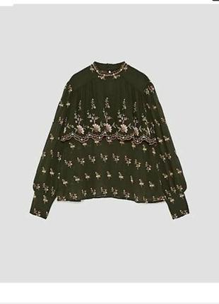 Роскошная блуза,премиум коллекция,с вышивкой zara