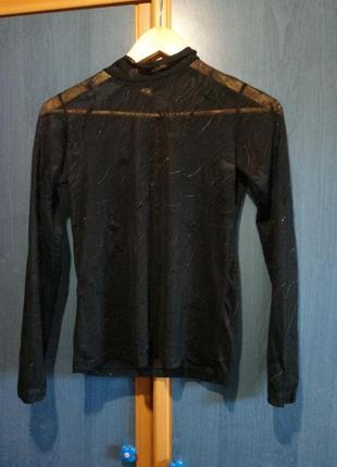 Черная прозрачная водолазка/сетка