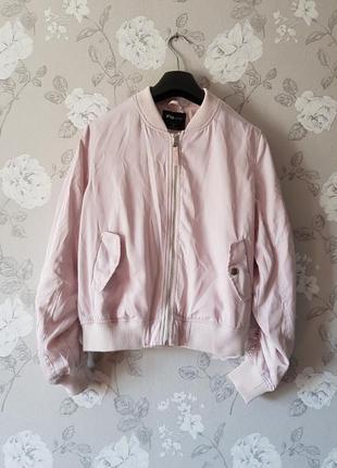 Крутая куртка бомбер пудрового цвета,легкий бомбер на весну/осень,женская ветровка
