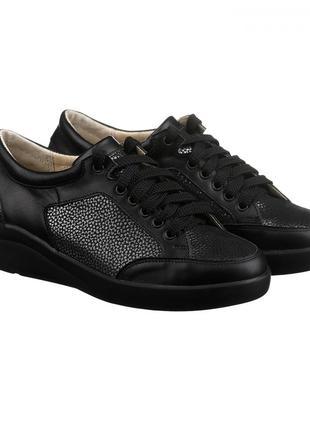 Скидка! стильные кожаные черные серебристые кроссовки кеды натуральная кожа