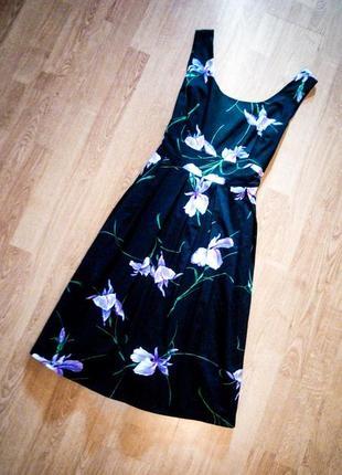 Платье коттоновое чёрное в цветочный принт на подкладке миди fever