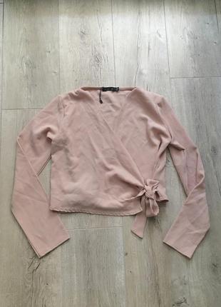 Нюдовая розовая укорочённая блуза кофточка