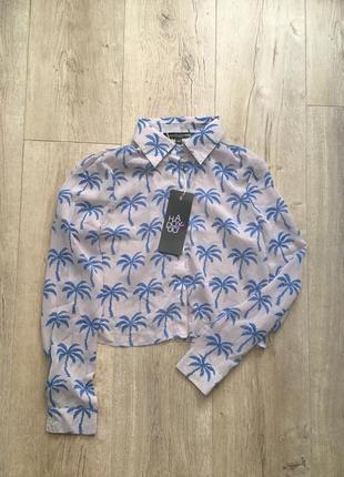 Укороченная шифоновая блуза рубашка с пальмами