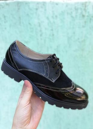 Стильные кожаные замшевые лаковые туфли оксфорды на шнуровке натуральная кожа