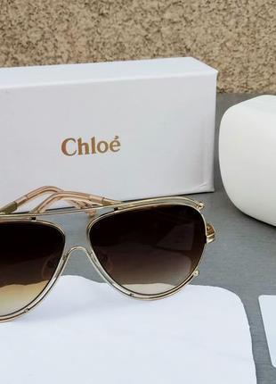 Chloe очки женские солнцезащитные в золотой металлической оправе