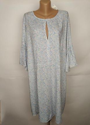 Платье натуральное новое легкое цветочное большой размера h&m uk 26