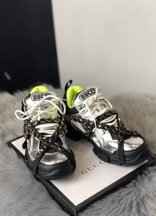Кроссовки: gucci flashtrek silver black green.
