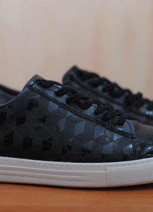 Черные кожаные кроссовки, кеды gianni & armando, 41 размер. оригинал