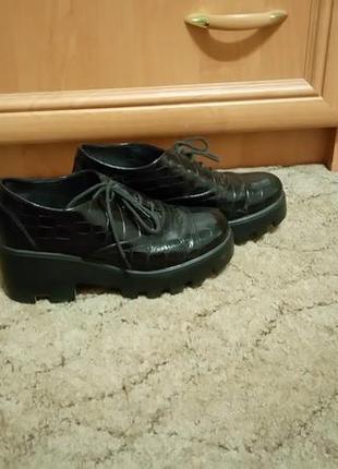 Туфли на тракторной подошве кожаные