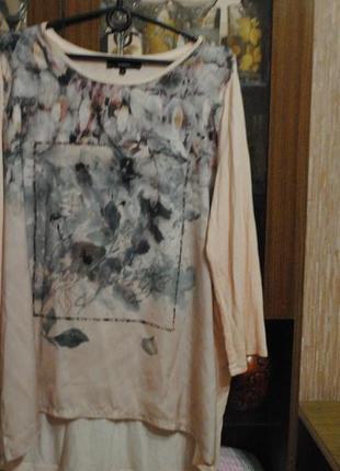 Удлиненный качественный свитерок в цветочный принт